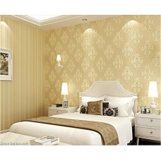 Light Yellow Flower and Stripe Best Coordination LIving Wallpaper Soft and Smooth Natural Wallcovers