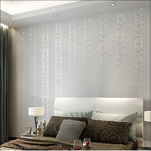 Mixed Grey Rose Stripe Design Floral Vine Decoration Living Wallpaper