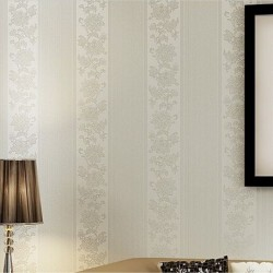 Mixed Rose Stripe Design White Floral Vine Decoration Living Wallpaper