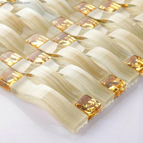 mattonelle marroni con decori fiori oro : Gold Crystal Woven Glass Decor Mosaic Tiles Kitchen Backsplash Wall ...