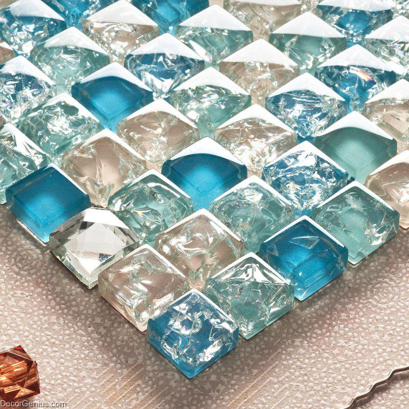 Light Blue Mirror Tile Basksplash Ice Cracked Glass Tile