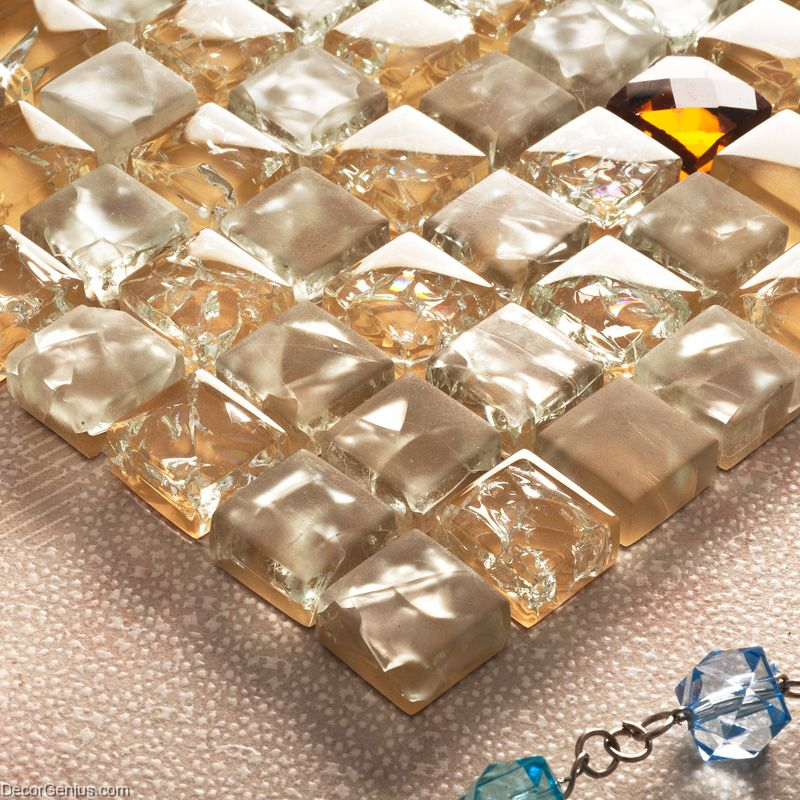 Ice cracked 3d diamond glass tile kitchen glass mosaic for Cracked mirror tiles