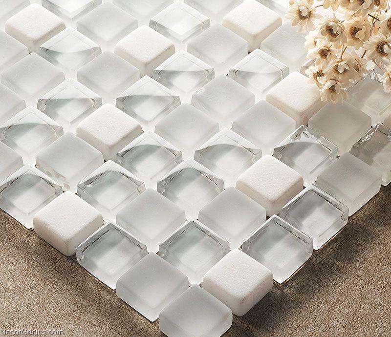 Crystal White Mosaics Glass Bathroom Wall Art Tiles