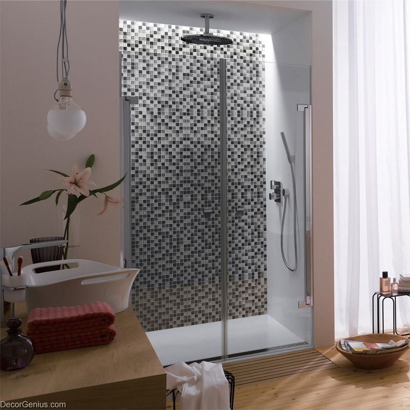 Wall tile stickers bathroom tile black grey white glass for Bathroom tile stickers