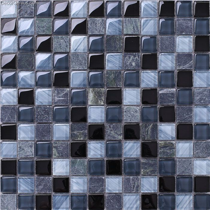 Glass black navy blend color 8mm wall mosaic tile kitchen for Black 3d tiles wallpaper