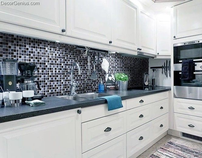 Glass black navy blend color 8mm wall mosaic tile kitchen for 3d tiles for kitchen wall