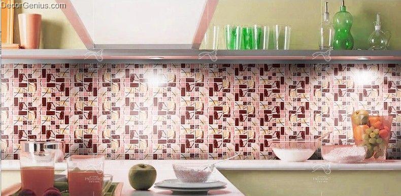 red pink colour blend tiles background kitchen backsplash crystal
