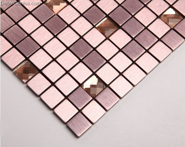 Purple aluminum mosaic tiles metal mosaic tile sheets self for Plaque decorative adhesive alu inox metal