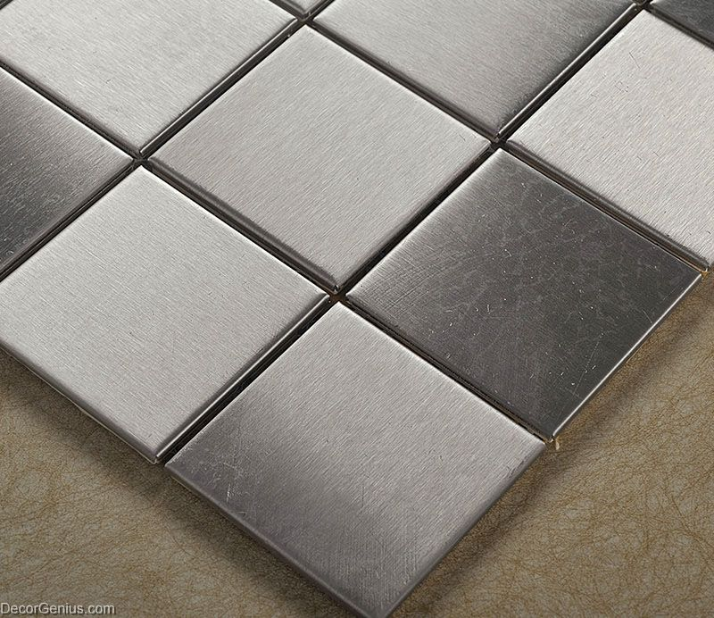 stainless steel sheet silver water proof metal wall backsplash tiles