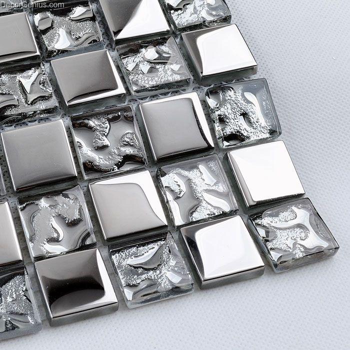 Silver galvanized kitchen backsplash tile metal ceiling floor cheap free shipping walltile - Silver tin backsplash tiles ...