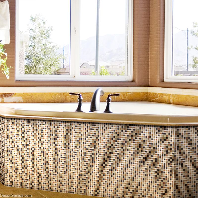 bathroom natural stone tile mixed glass wall decoration