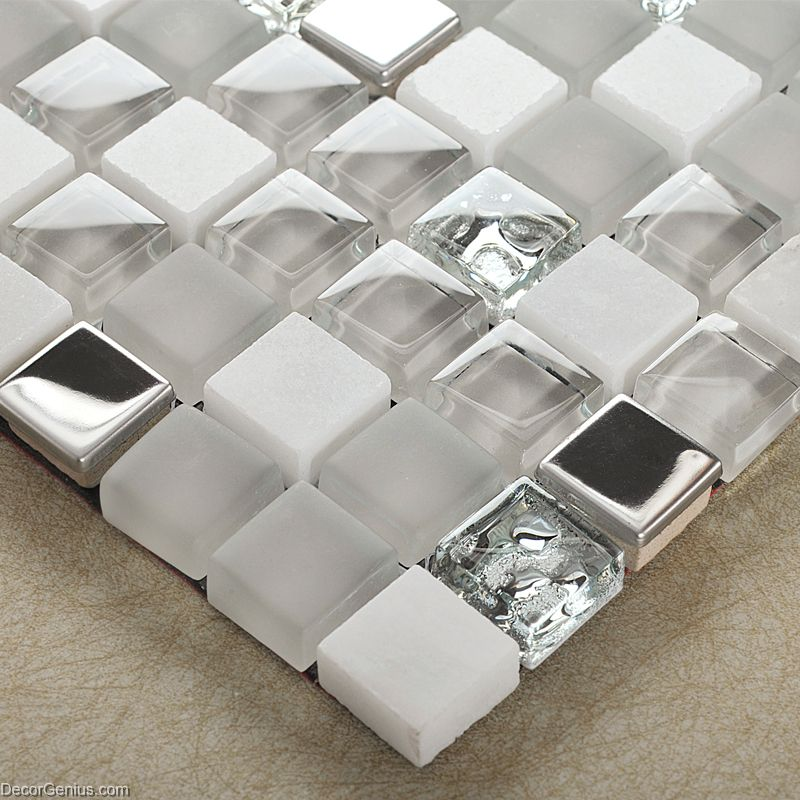 Mirror Stainless Steel Tile Metal Mixed Stone Bathroom Tiles Glass Mosaic 3d Tile Dgwh022