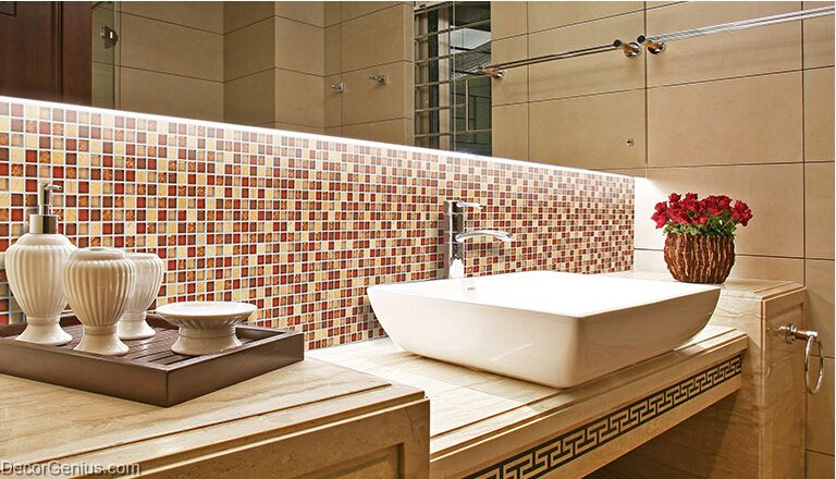 Dark Red Building Mosaic Tiles Glass Mixed Stone Home