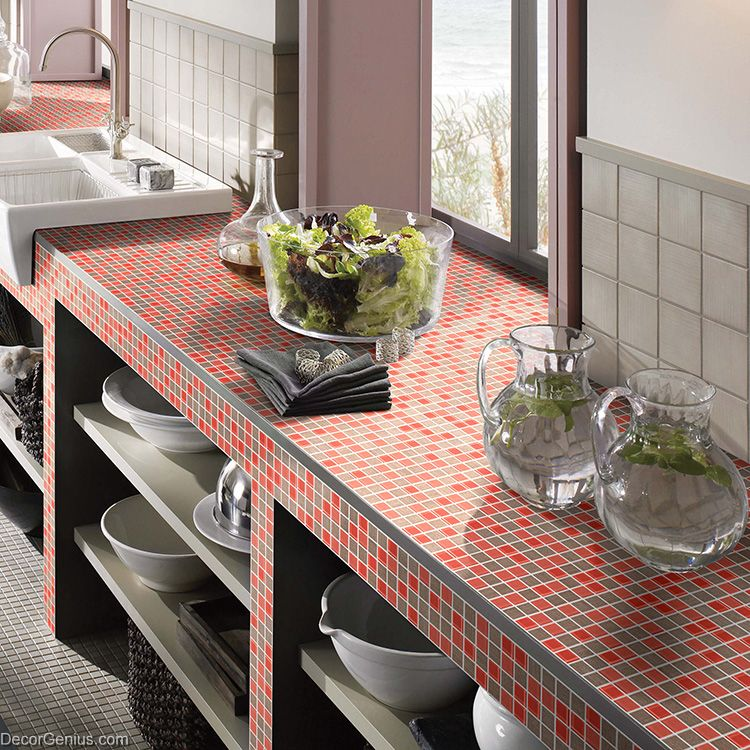 3d Wall Tiles For Kitchen: Red Floor Tiles Home Kitchen Backplash Brown Wall Tiles 3D