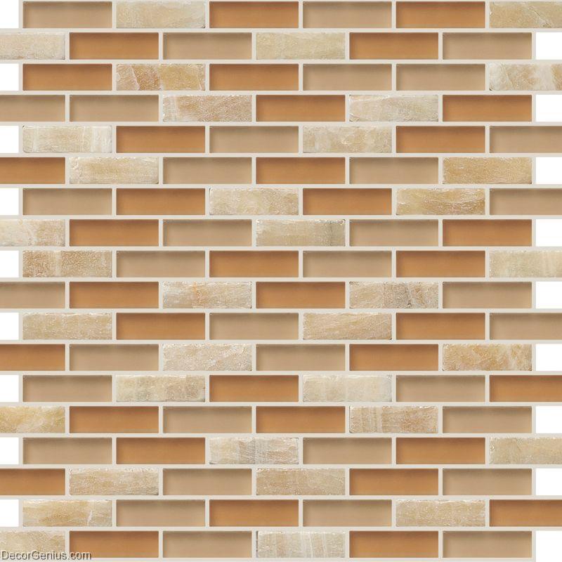 DecorGenius Strip Dark Khaki Mosaic Floor Tile Stone Bathroom Wall Tile Kitch