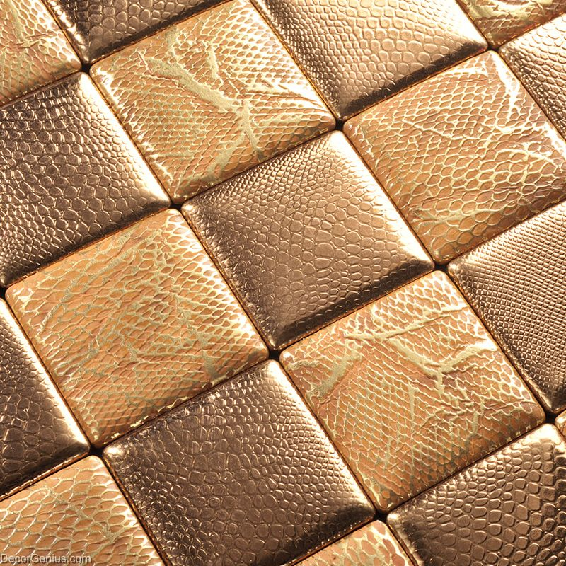 Gold Mosaic Floor Tile Home Living Room Leather Backsplash Wall Tiles
