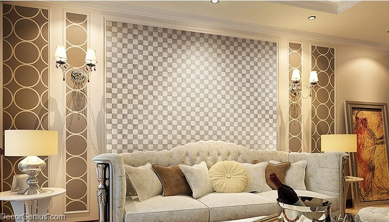 Decorgenius white grey leather wall tile living room decor Decorative wall tiles for living room