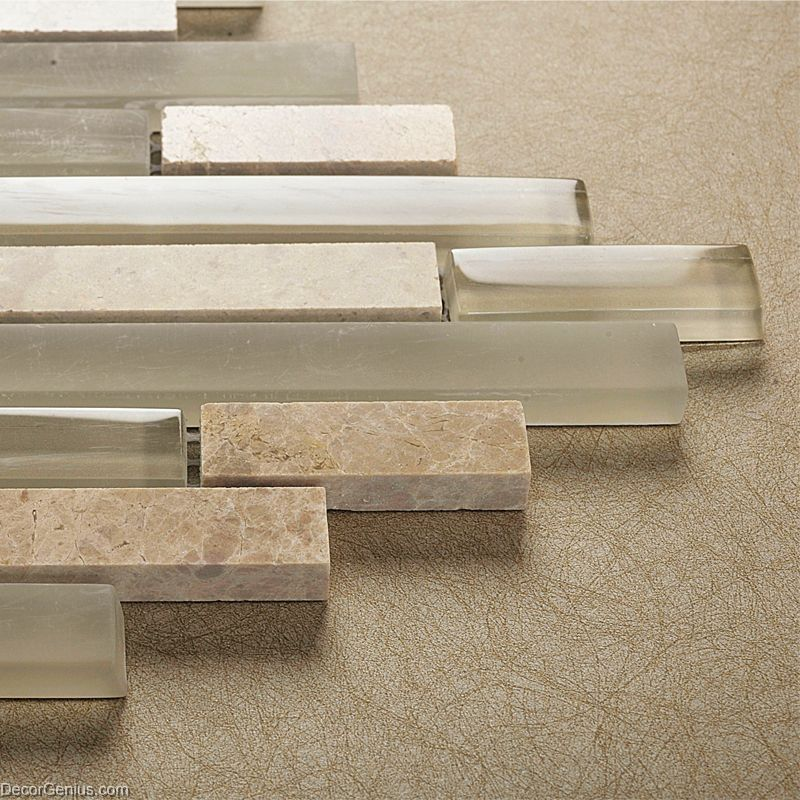 Light grey natural stone strip mosaic floor tile home decorative backsplash stone wall tile Stone backsplash tile