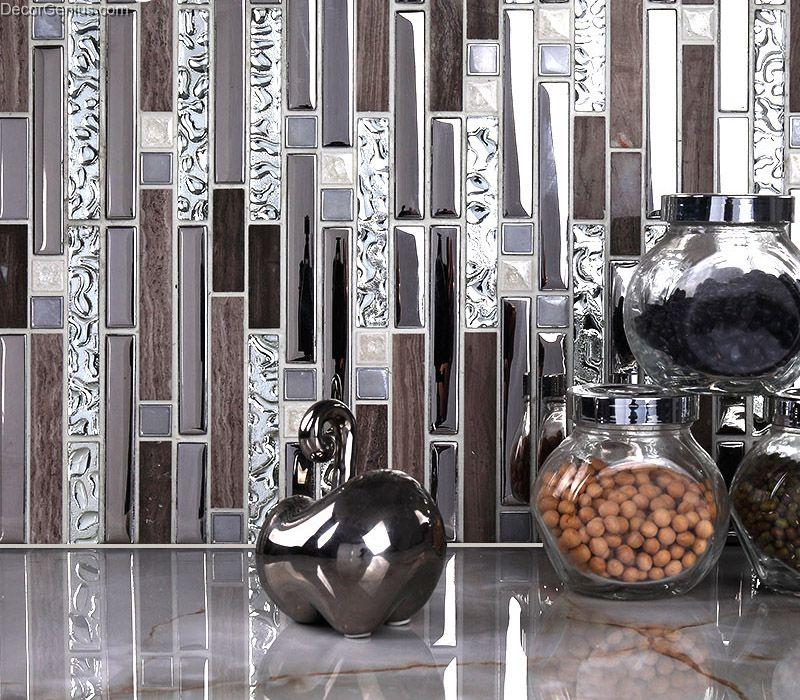 Galvanized Mirror Mosaic Tile Reflection Diamond Bathroom ...