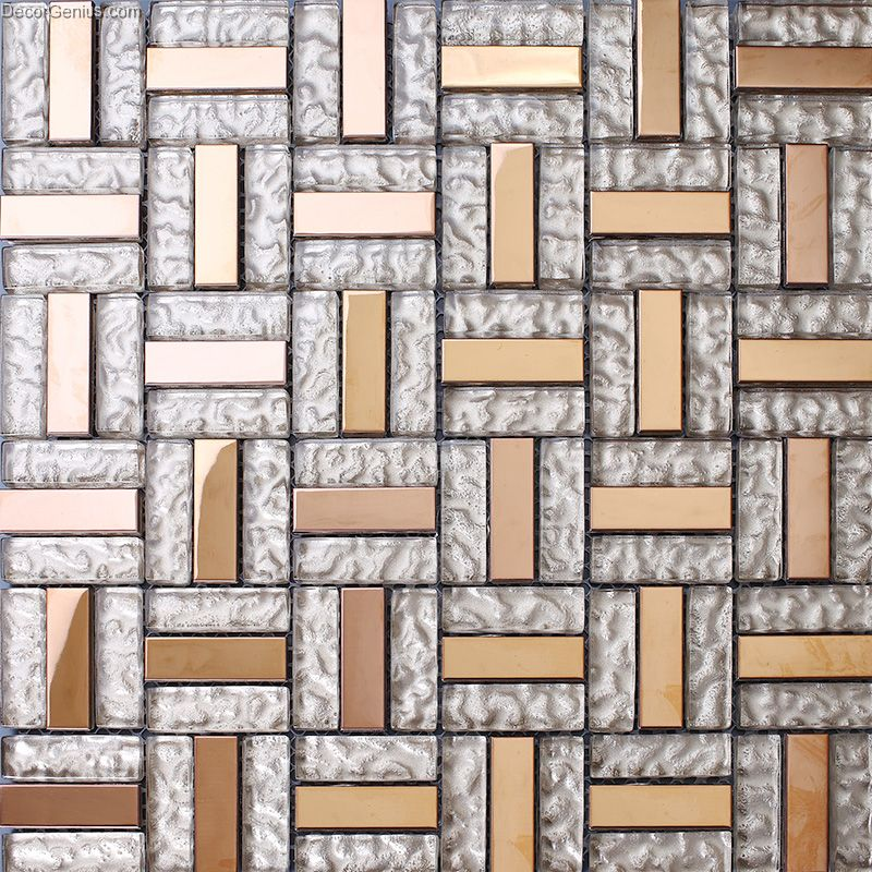 Gold square mixed strip glass floor tile home decoration for Dining room wall tiles designs