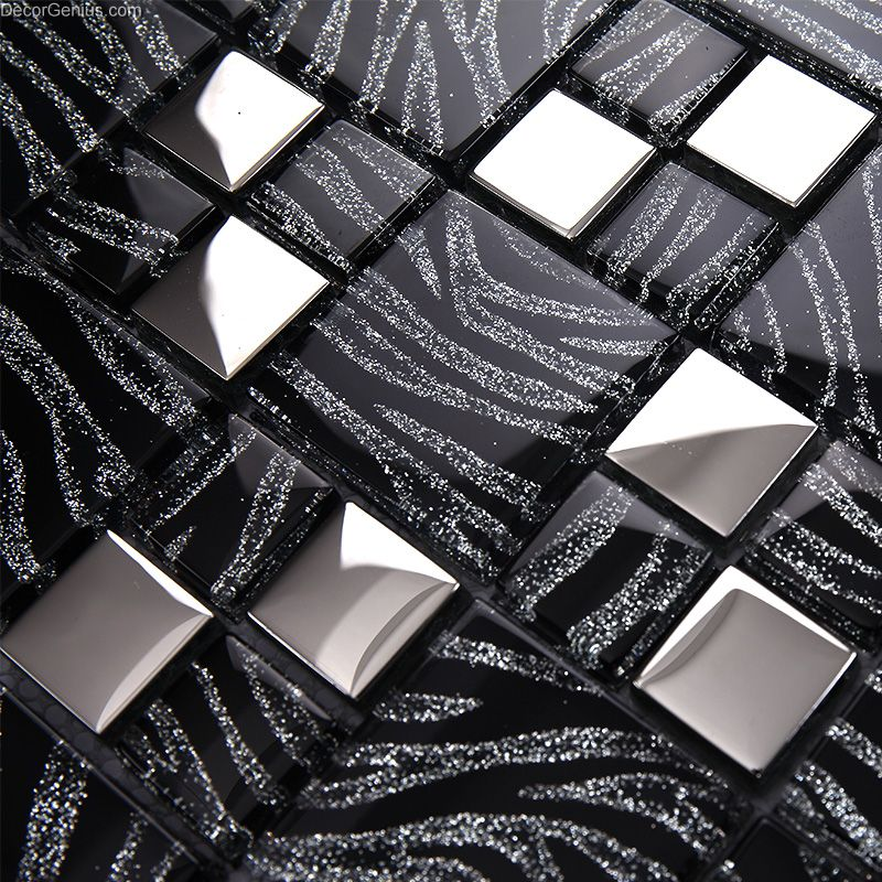 Sample Black Metallic Deco Insert Crackle Glass Mosaic: Pure Black Metal Wall Decor Kitchen Galvanized Mosaic