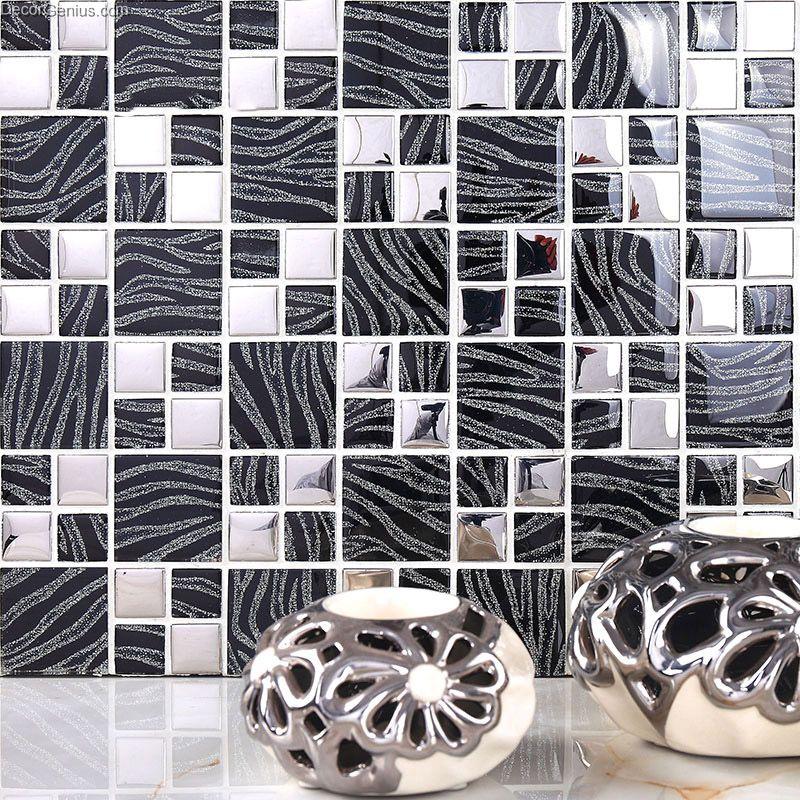 Pure Black metal wall decor kitchen Galvanized Mosaic ...