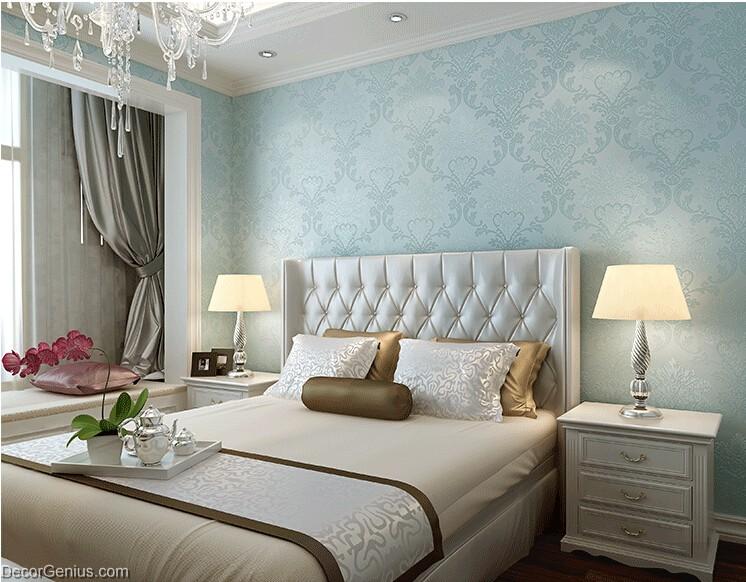 Light Blue Living Room 3d Flower Wallpaper Seasonal