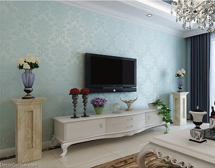 Charming ... Light Blue Living Room 3d Flower Wallpaper Seasonal Decoration Bedroom  ... Part 26