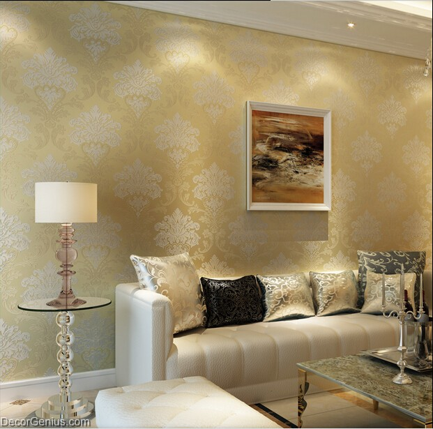 Living room 3d flower wallpaper dark gold seasonal for Gold wallpaper living room