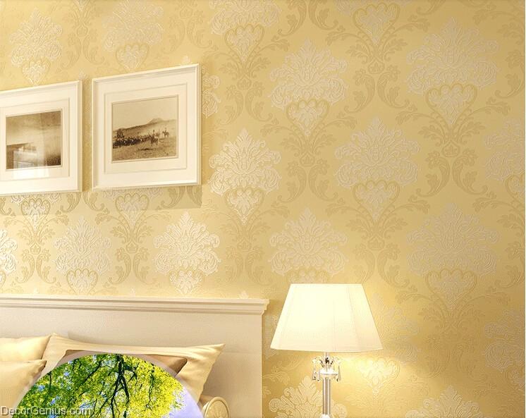 Living Room 3D Flower Wallpaper Dark Gold Seasonal