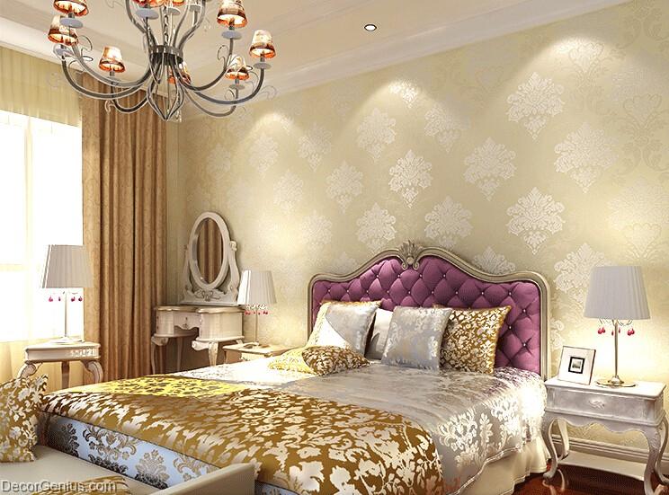 Living room 3d flower wallpaper seasonal light gold for Gold wallpaper living room