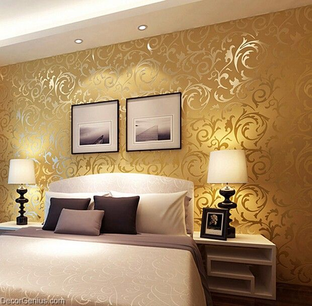 Popular 3d design dk gold bedroom wallpaper modern style for Bedroom 3d wallpaper