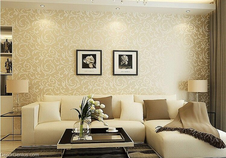 Popular 3d design bedroom wallpaper light gold modern for Gold wallpaper living room