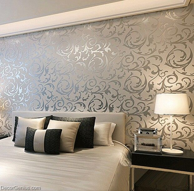 Popular 3d design silver bedroom wallpaper modern style for Modern 3d wallpaper for bedroom