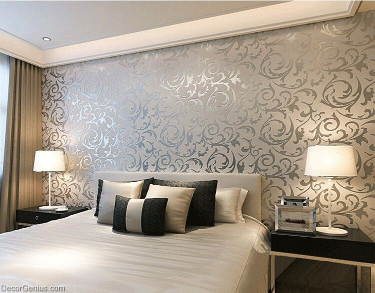 Popular 3d design silver bedroom wallpaper modern style for Wallpaper decorating ideas